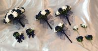 WEDDING PACKAGE-ARTIFICIAL FLOWERS FOAM ROSE BOUQUETS - NAVY BLUE WHITE BRIDE
